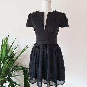 Tobi Black Split Neck Mini Cocktail Dress L